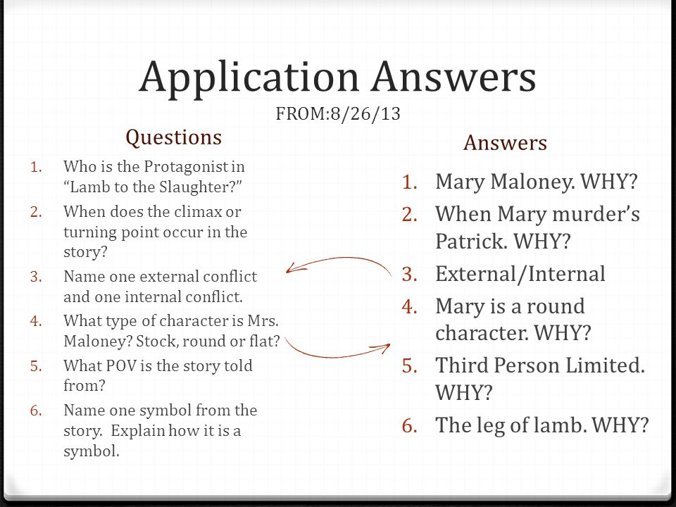 Application Answers FROM:8/26/13