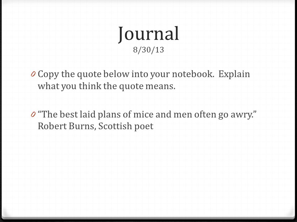 Journal 8/30/13 Copy the quote below into your notebook. Explain what you think the quote means.