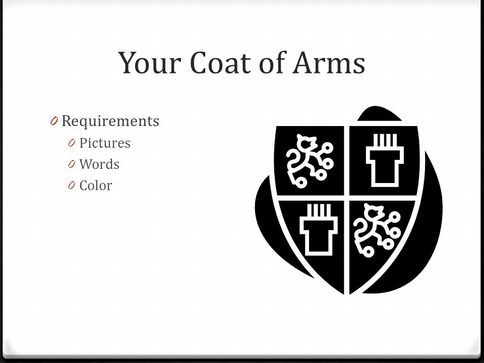 Your Coat of Arms Requirements Pictures Words Color