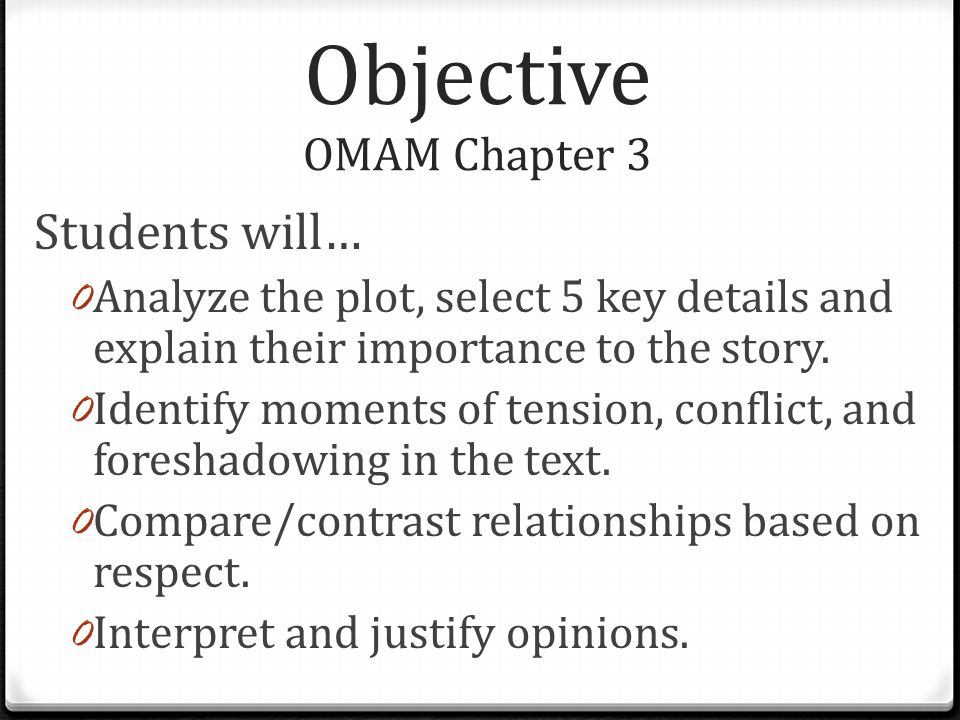 Objective OMAM Chapter 3