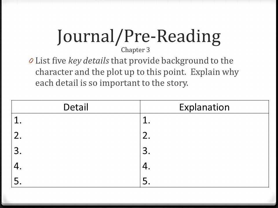 Journal/Pre-Reading Detail Explanation 1. 2. 3. 4. 5.
