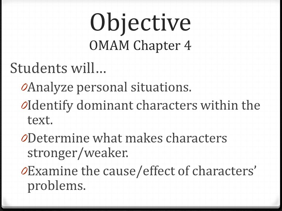 Objective OMAM Chapter 4