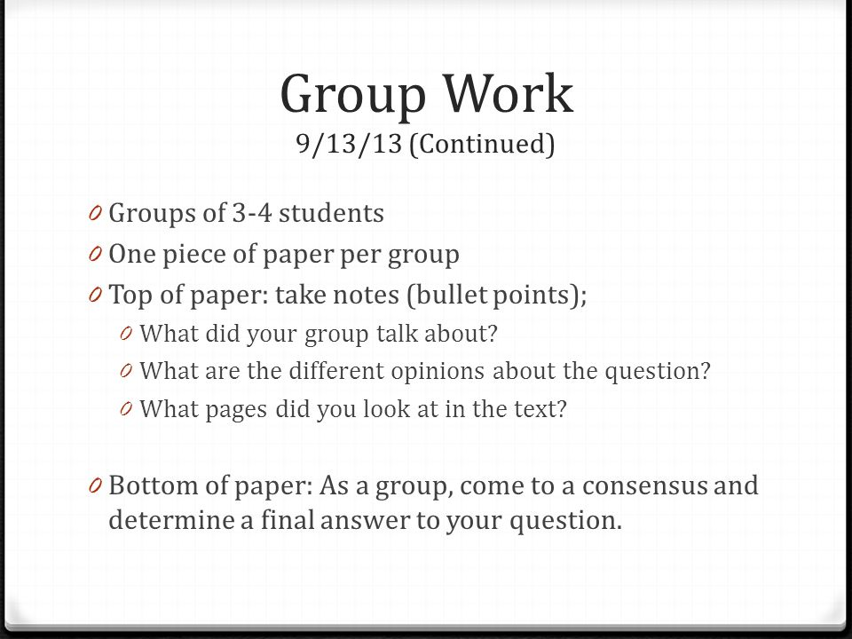 Group Work 9/13/13 (Continued)