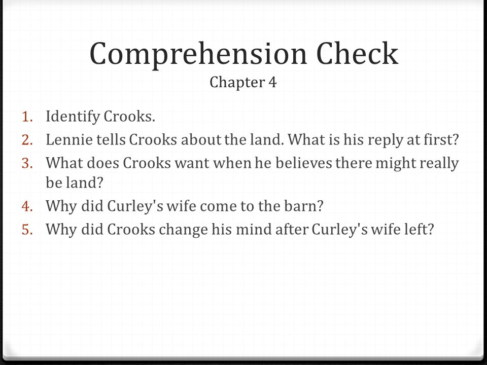 Comprehension Check Chapter 4