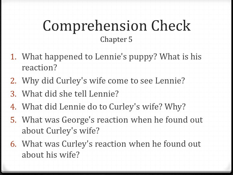 Comprehension Check Chapter 5
