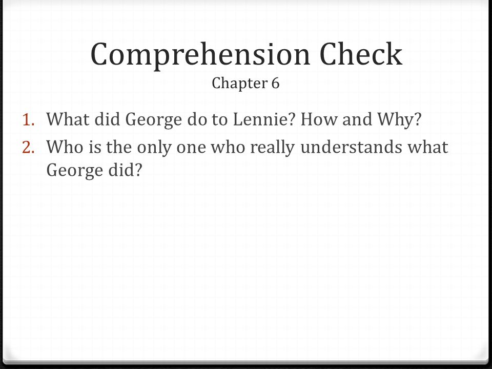 Comprehension Check Chapter 6