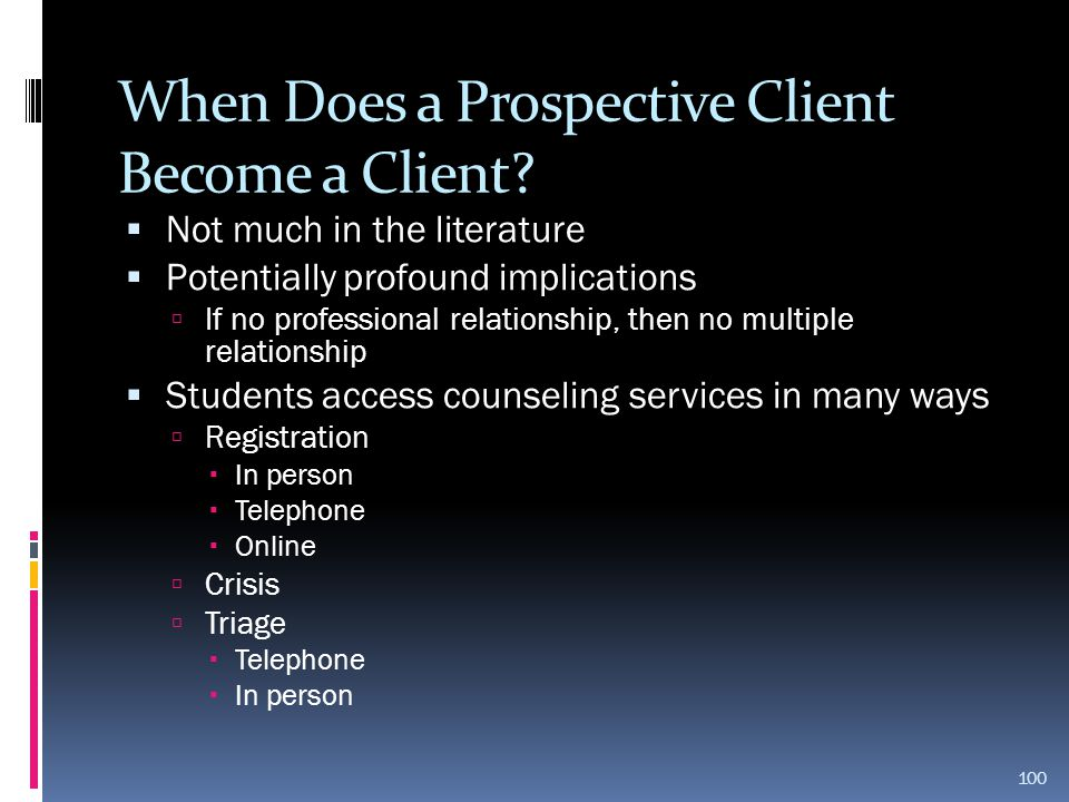 When Does a Prospective Client Become a Client