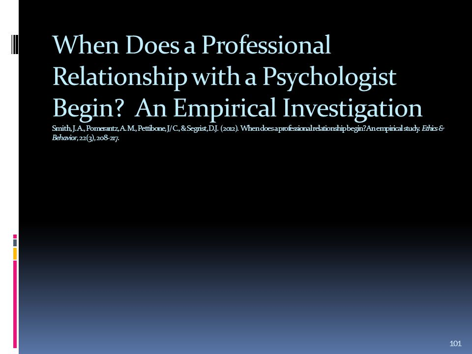 When Does a Professional Relationship with a Psychologist Begin