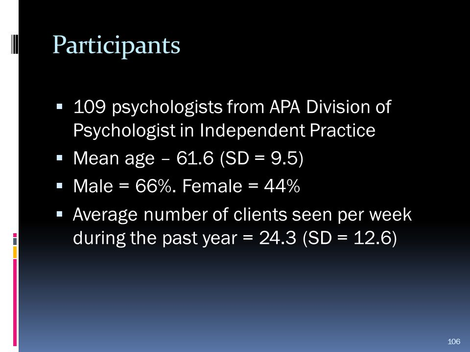 Participants 109 psychologists from APA Division of Psychologist in Independent Practice. Mean age – 61.6 (SD = 9.5)