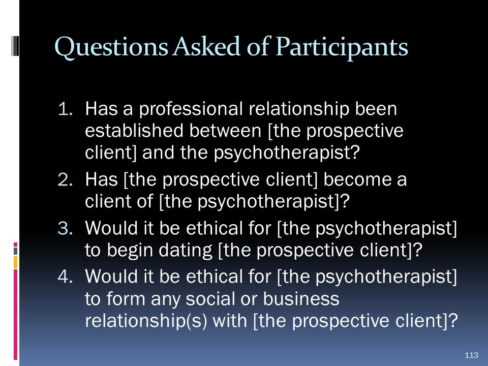 Questions Asked of Participants
