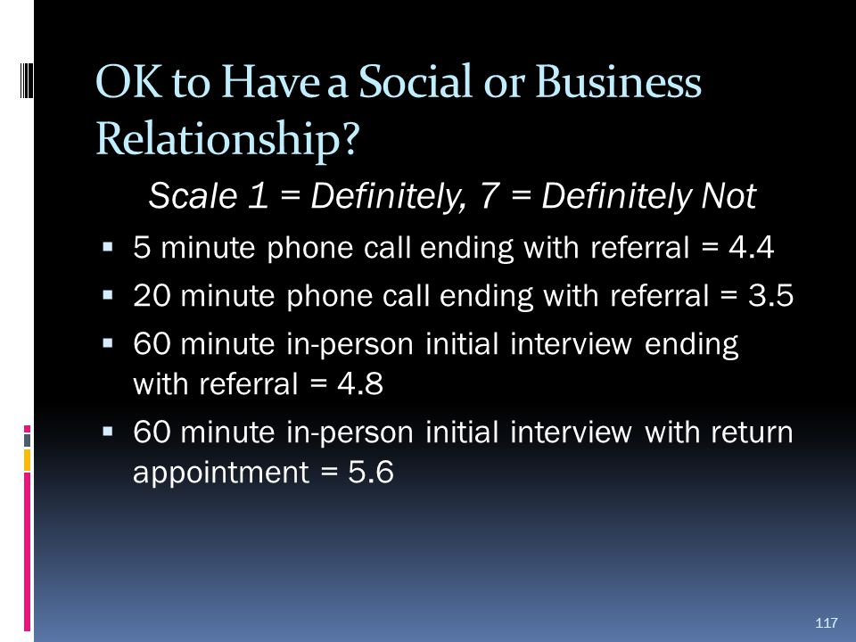 OK to Have a Social or Business Relationship