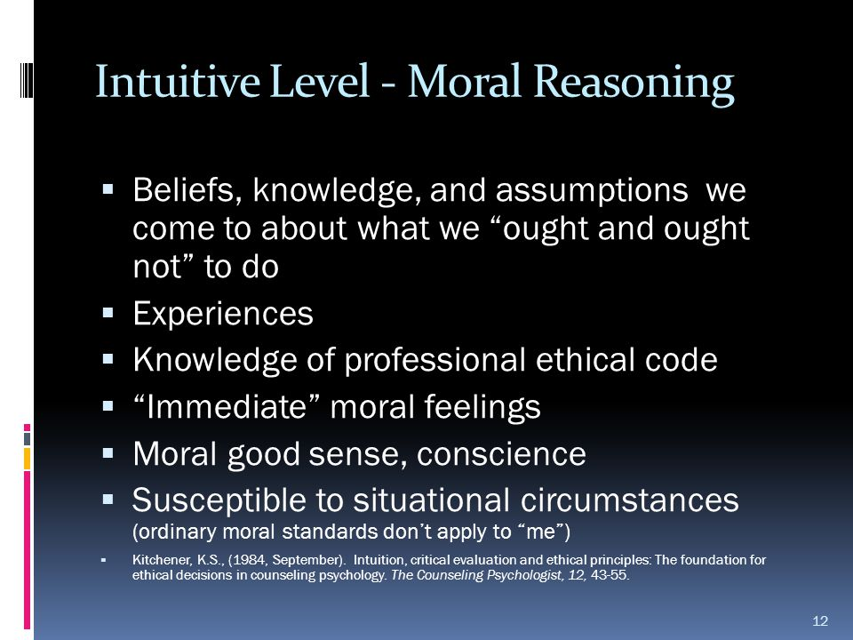 Intuitive Level - Moral Reasoning