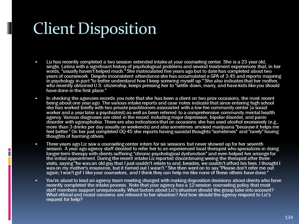 Client Disposition
