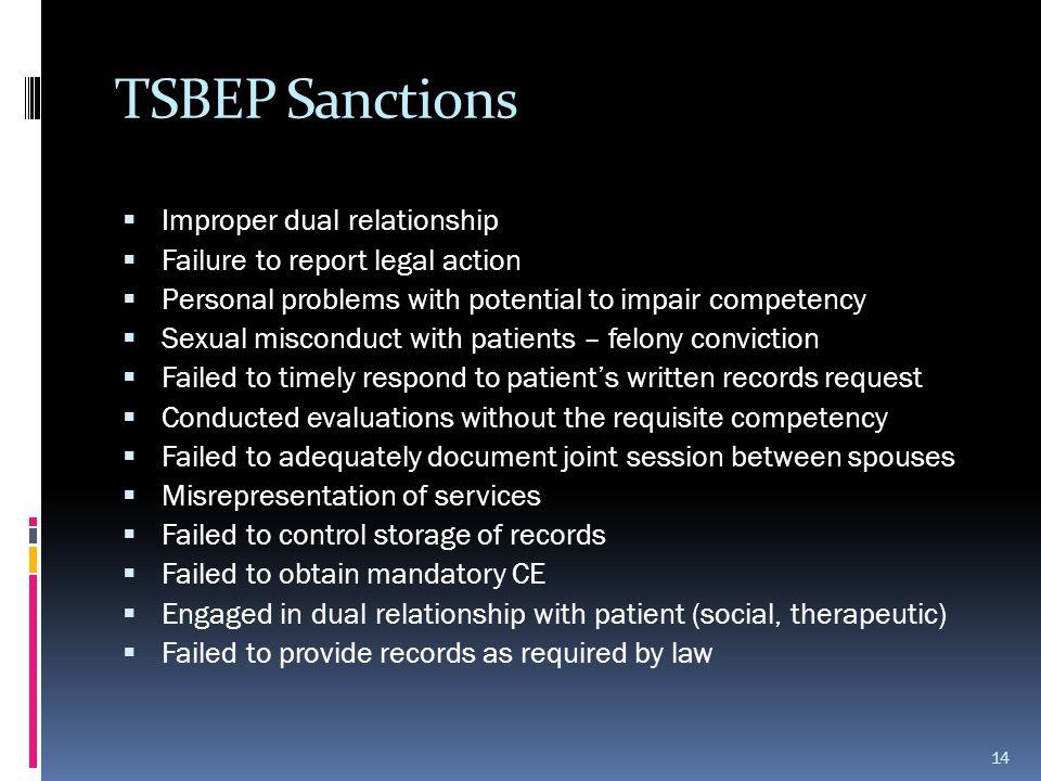 TSBEP Sanctions Improper dual relationship