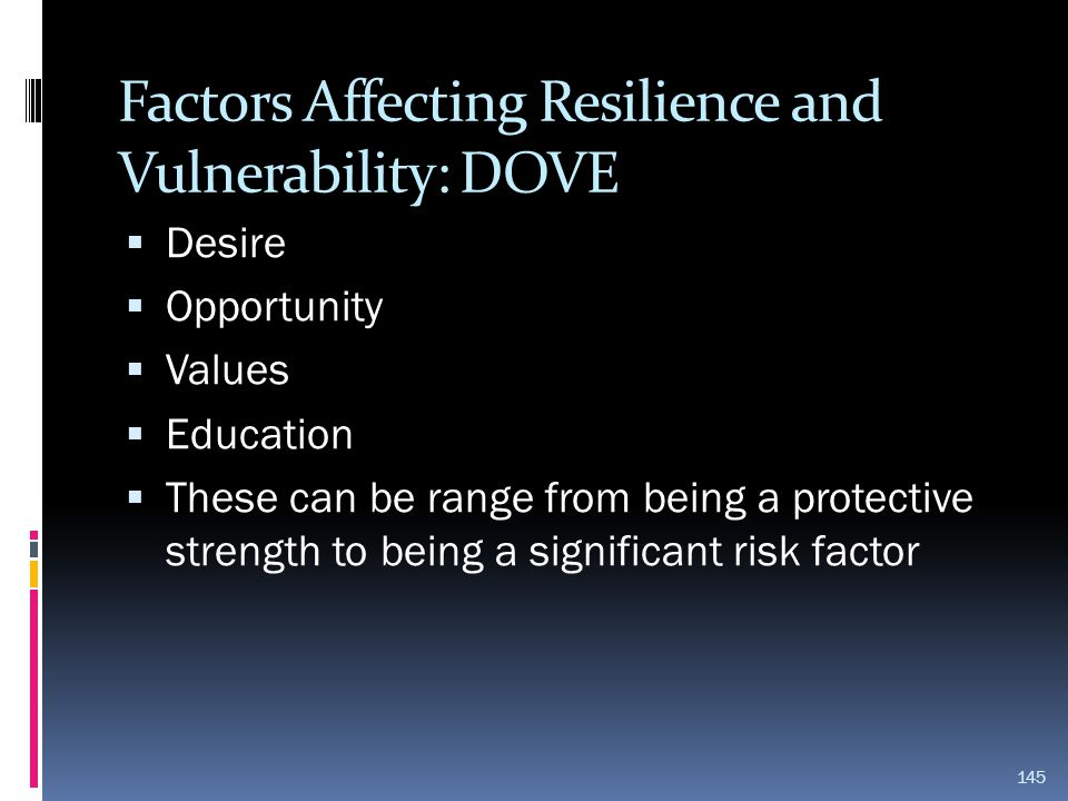 Factors Affecting Resilience and Vulnerability: DOVE
