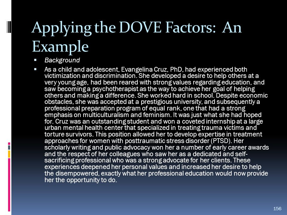 Applying the DOVE Factors: An Example