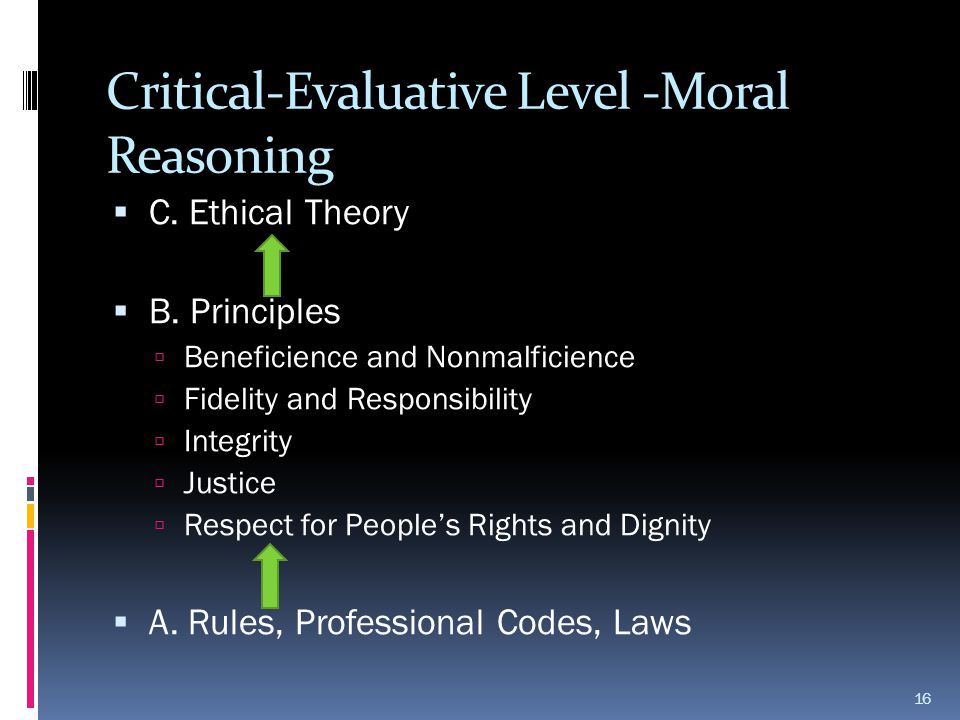 Critical-Evaluative Level -Moral Reasoning