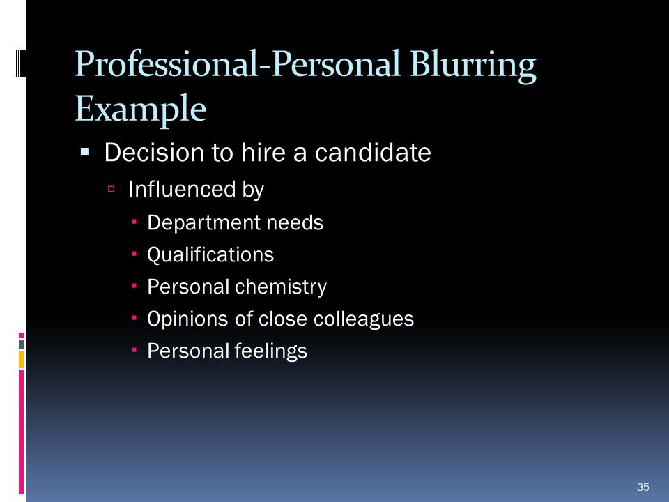 Professional-Personal Blurring Example