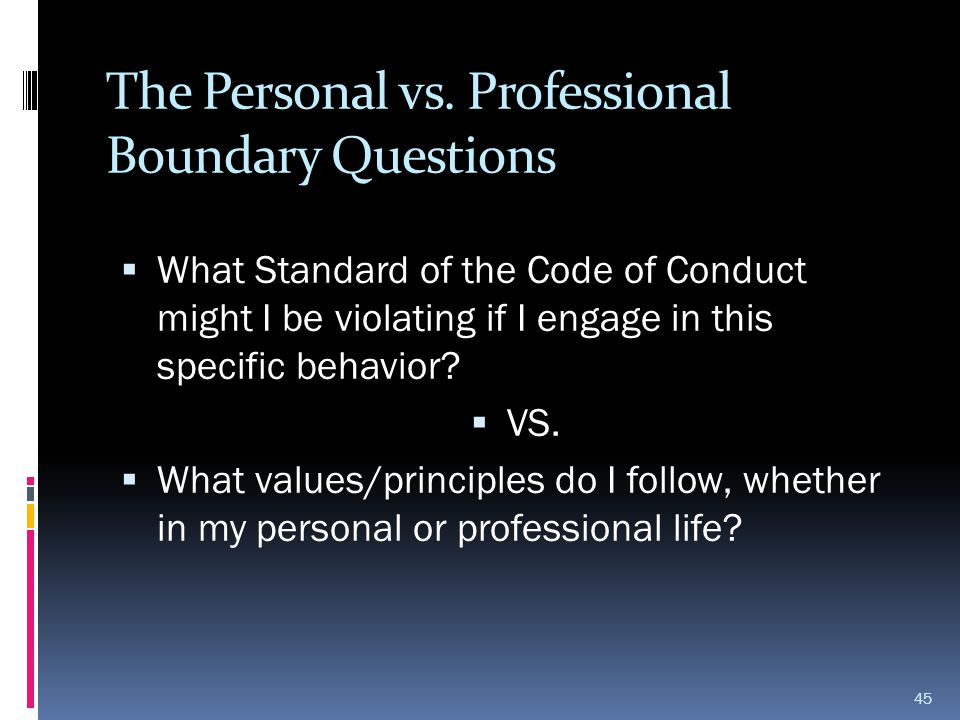 The Personal vs. Professional Boundary Questions