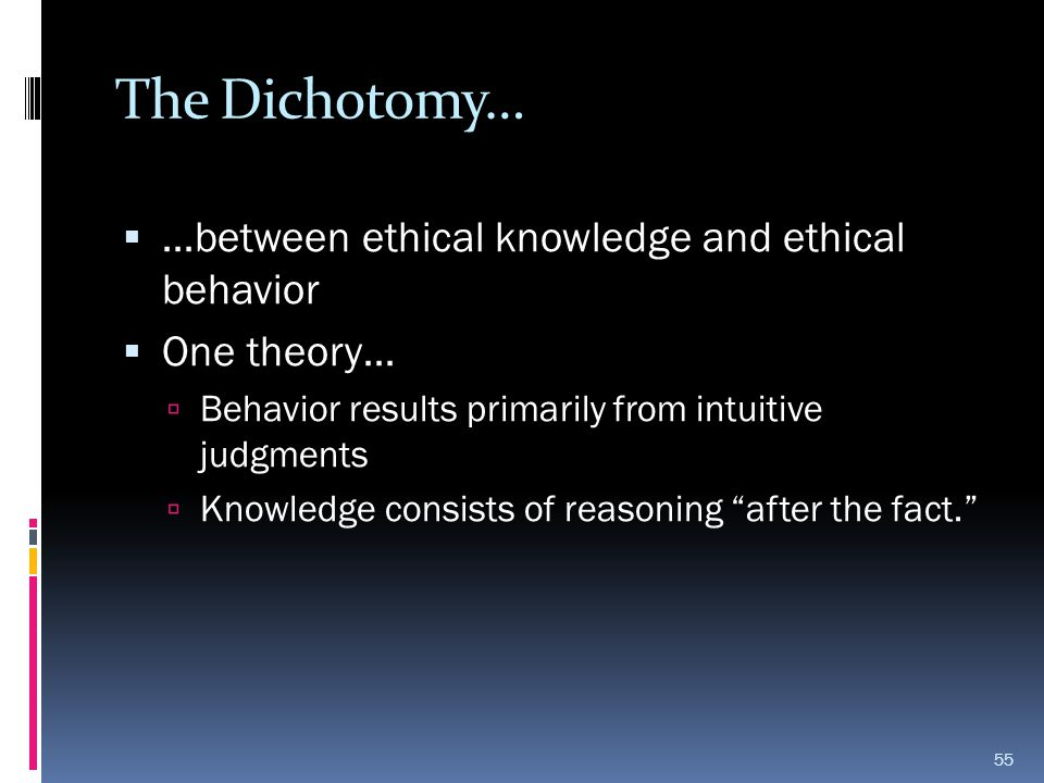 The Dichotomy… …between ethical knowledge and ethical behavior