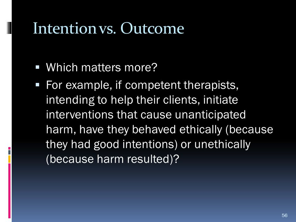 Intention vs. Outcome Which matters more