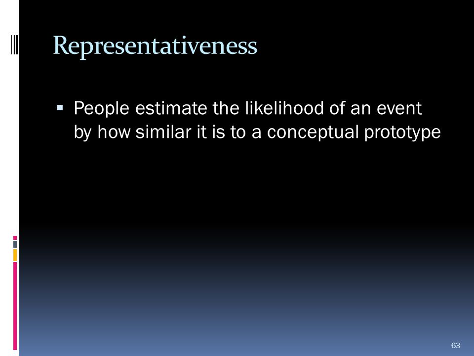 Representativeness People estimate the likelihood of an event by how similar it is to a conceptual prototype.