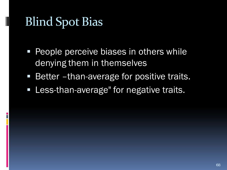 Blind Spot Bias People perceive biases in others while denying them in themselves. Better –than-average for positive traits.