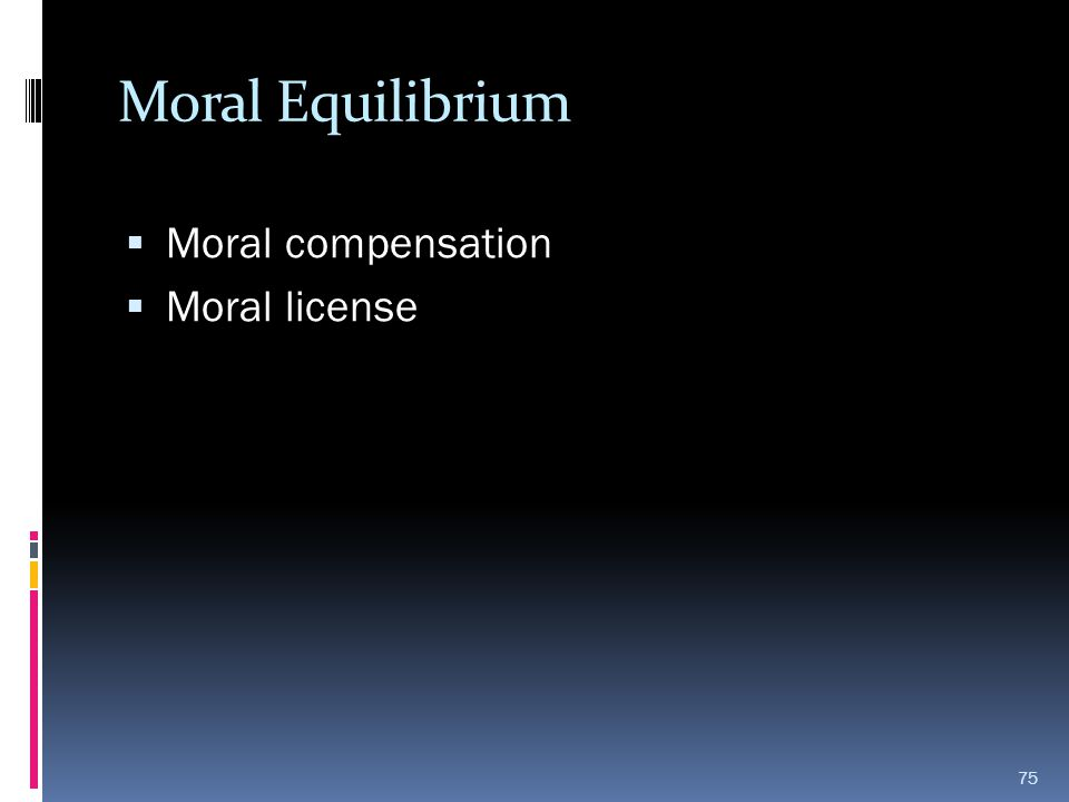 Moral Equilibrium Moral compensation Moral license