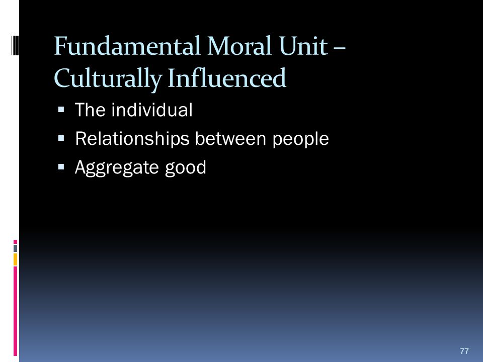 Fundamental Moral Unit – Culturally Influenced
