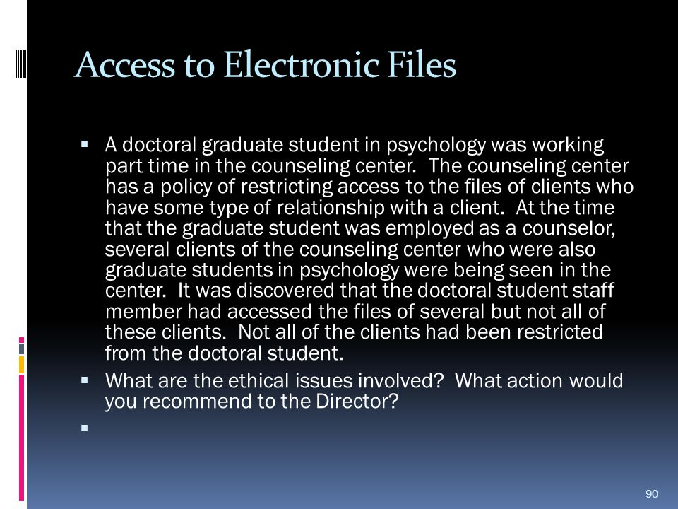 Access to Electronic Files