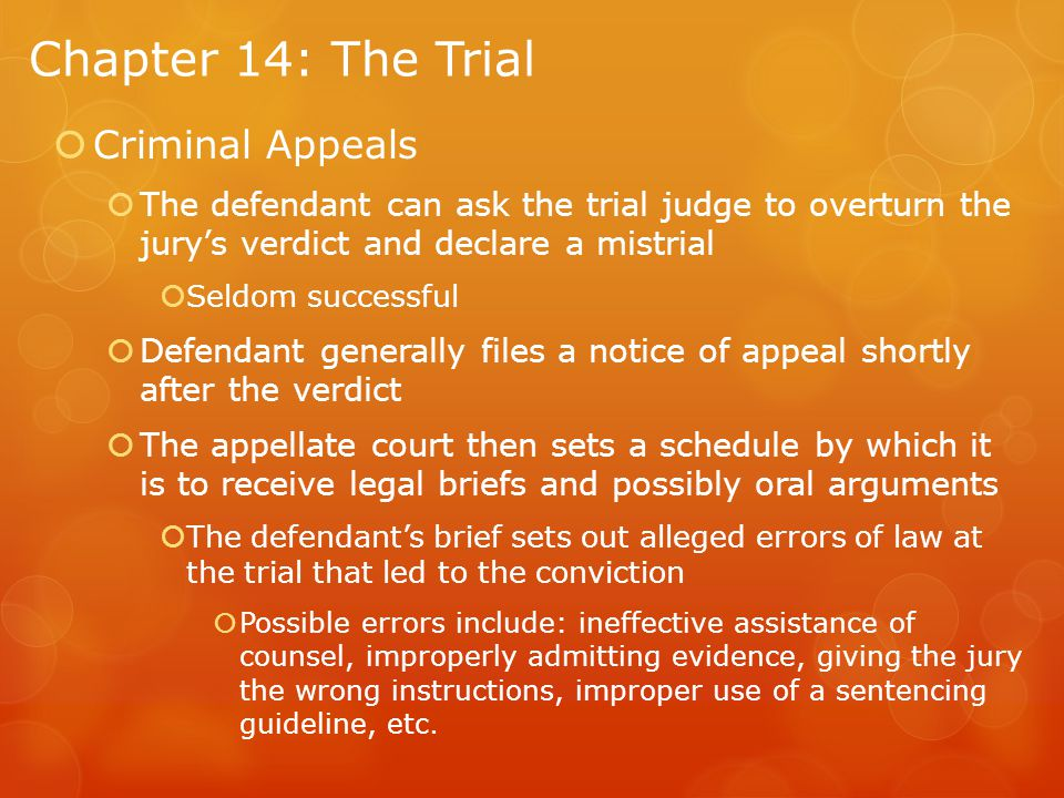 Chapter 14: The Trial Criminal Appeals
