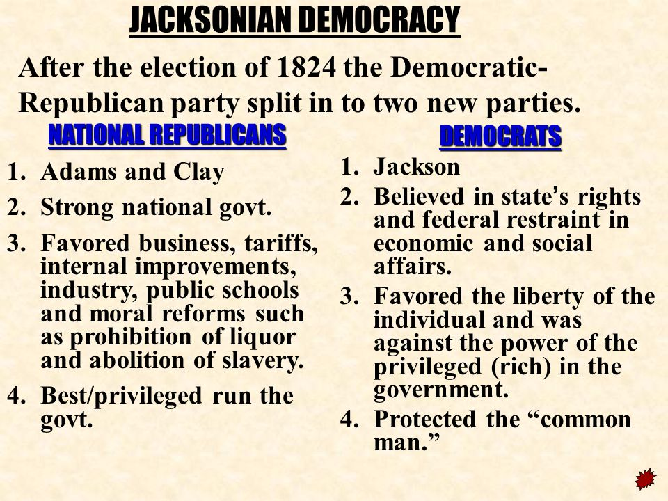JACKSONIAN DEMOCRACY After the election of 1824 the Democratic-Republican party split in to two new parties.