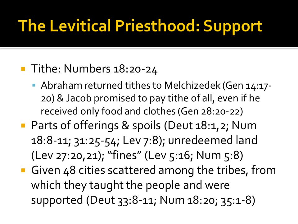The Levitical Priesthood: Support