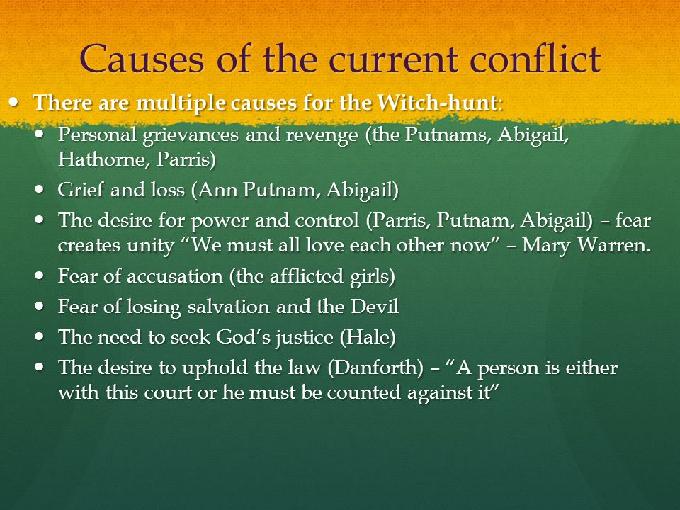 Causes of the current conflict