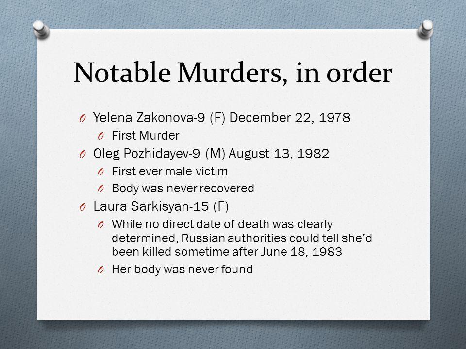 Notable Murders, in order