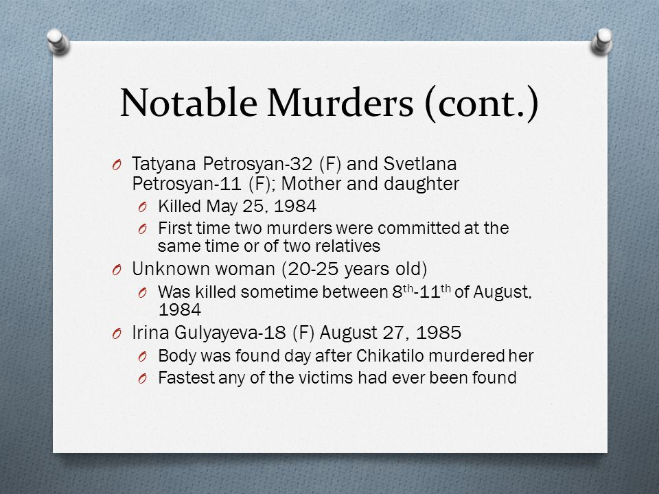 Notable Murders (cont.)