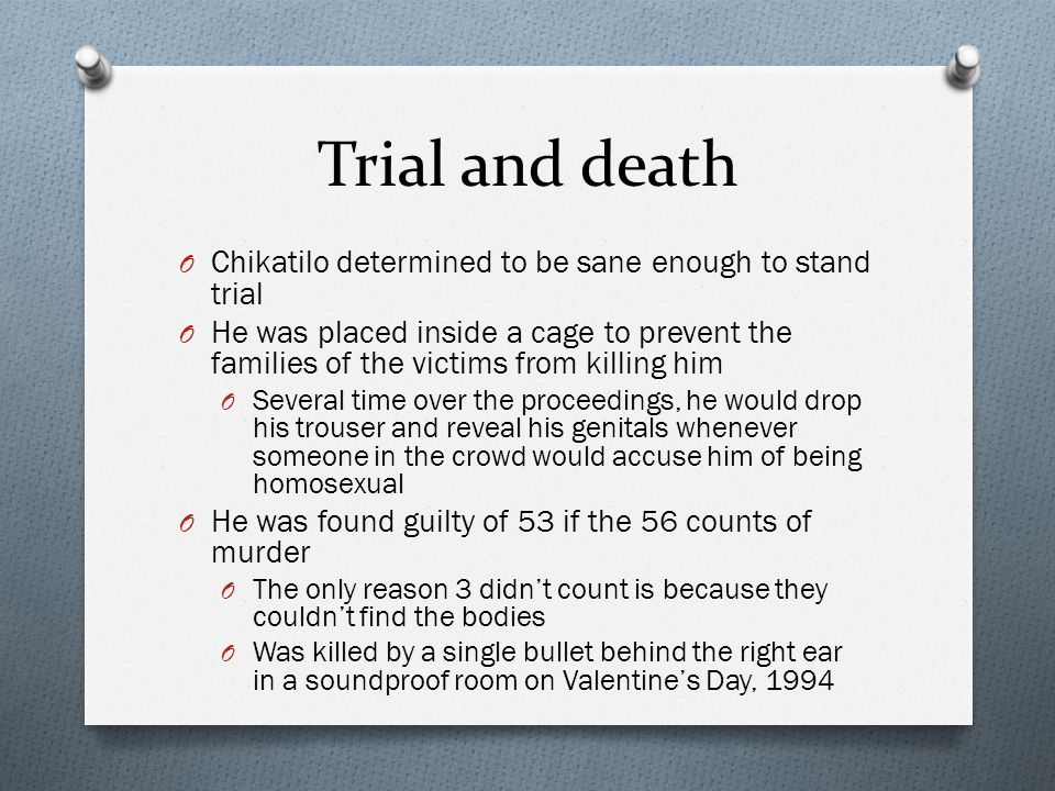 Trial and death Chikatilo determined to be sane enough to stand trial