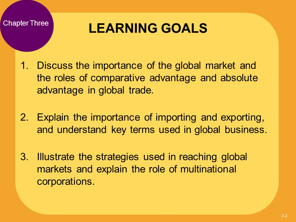 LEARNING GOALS Chapter Three.