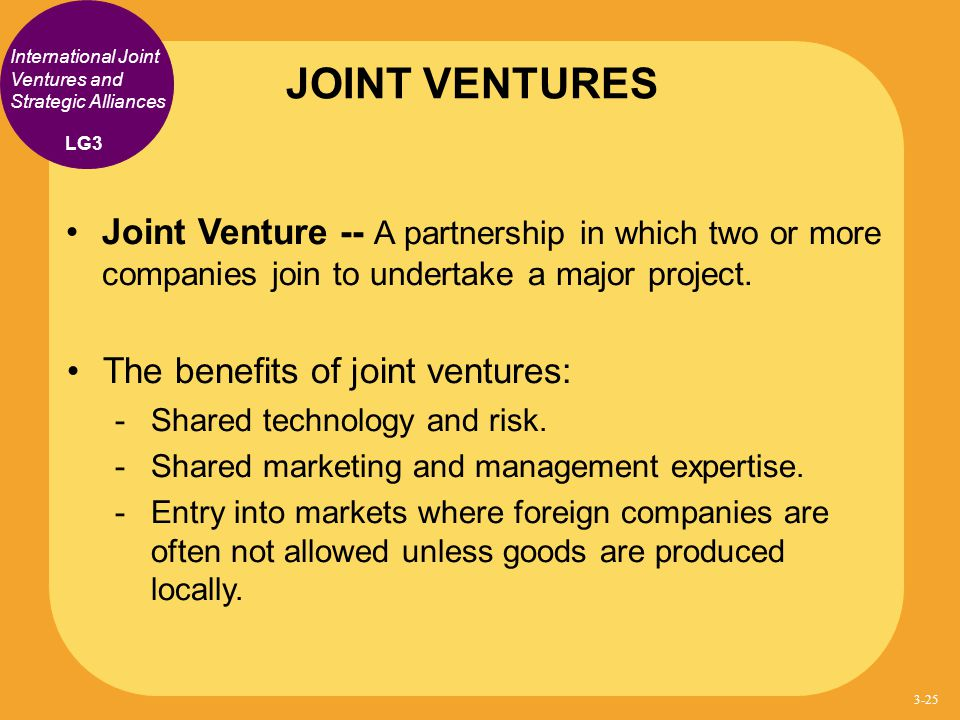 JOINT VENTURES International Joint Ventures and Strategic Alliances. LG3.