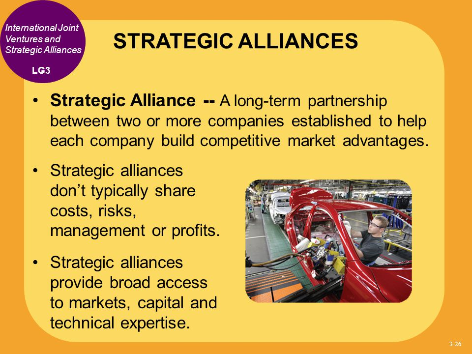 STRATEGIC ALLIANCES International Joint Ventures and Strategic Alliances. LG3.