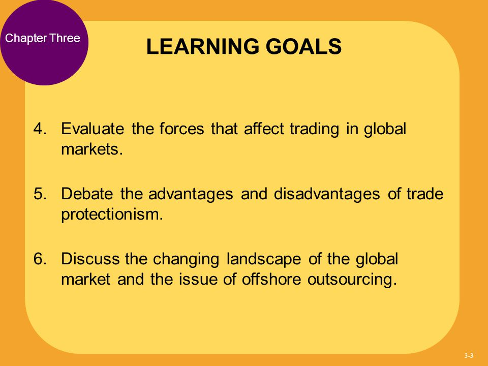 LEARNING GOALS Chapter Three. Evaluate the forces that affect trading in global markets.