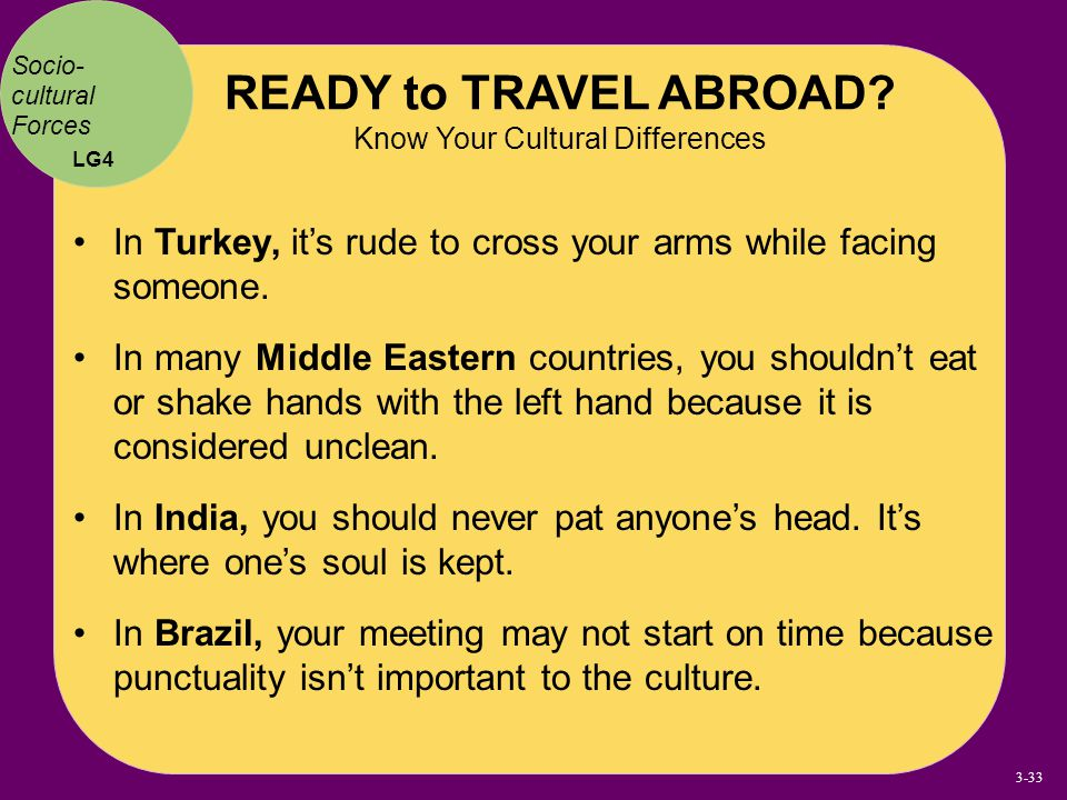 READY to TRAVEL ABROAD Know Your Cultural Differences