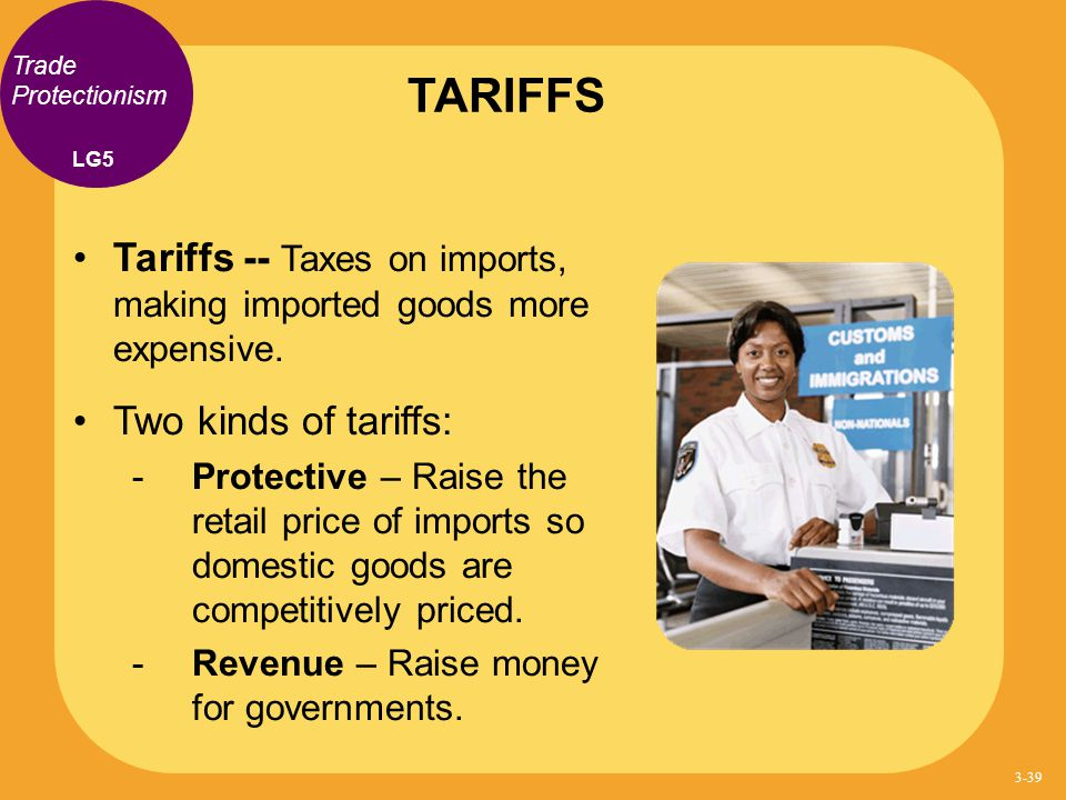 TARIFFS Trade Protectionism. LG5. Tariffs -- Taxes on imports, making imported goods more expensive.