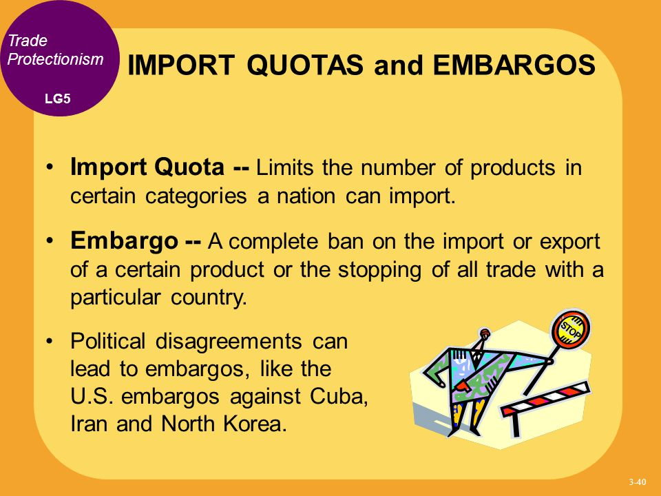 IMPORT QUOTAS and EMBARGOS