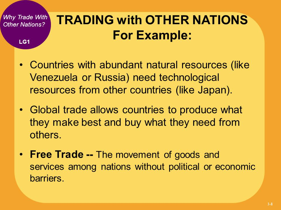 TRADING with OTHER NATIONS For Example:
