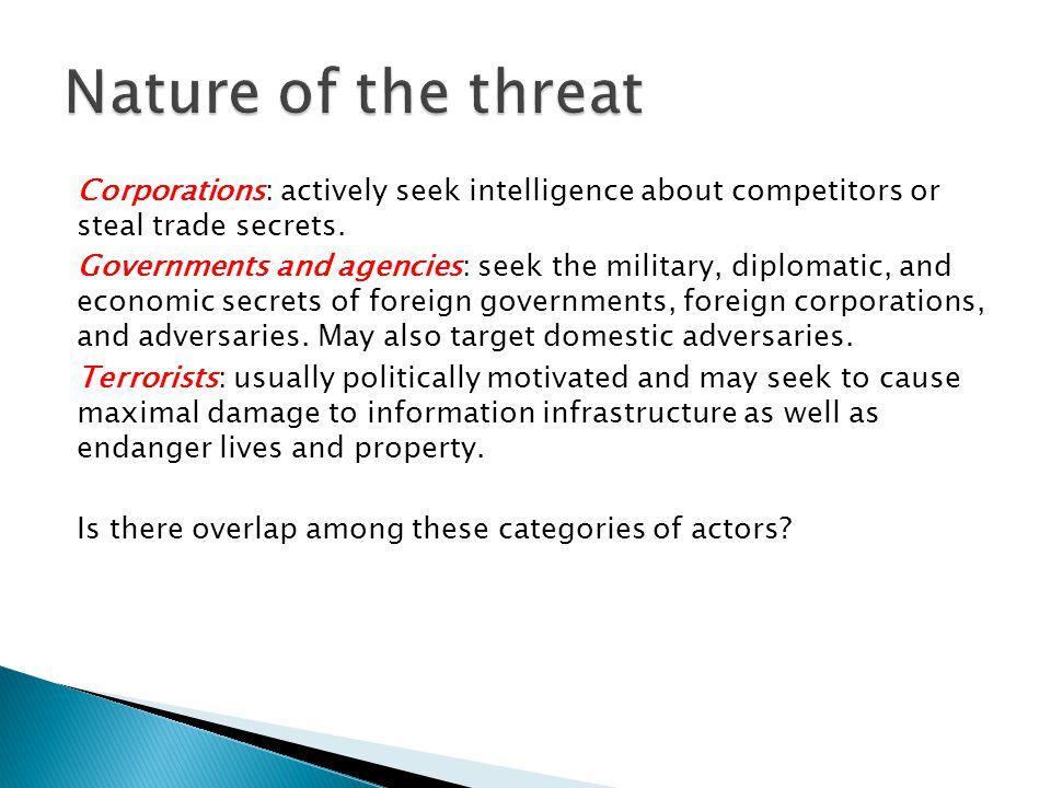 Nature of the threat