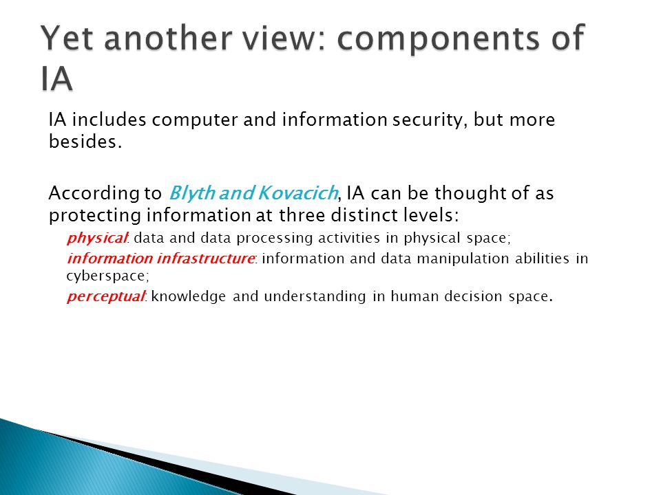 Yet another view: components of IA
