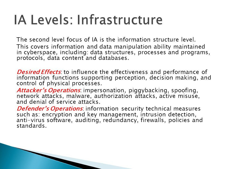 IA Levels: Infrastructure