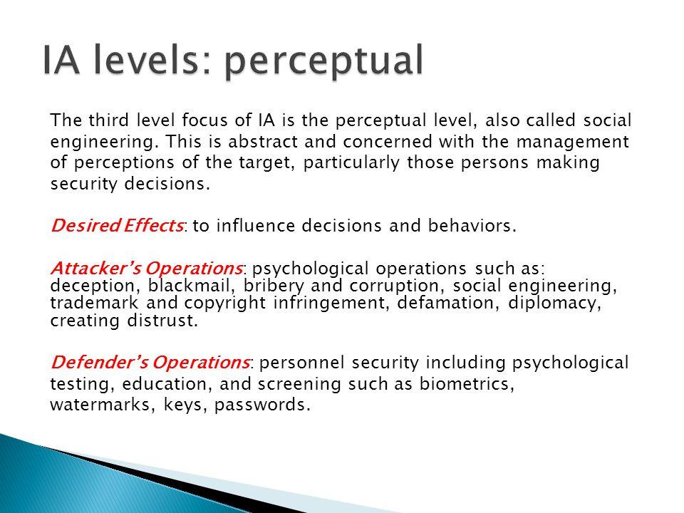 IA levels: perceptual