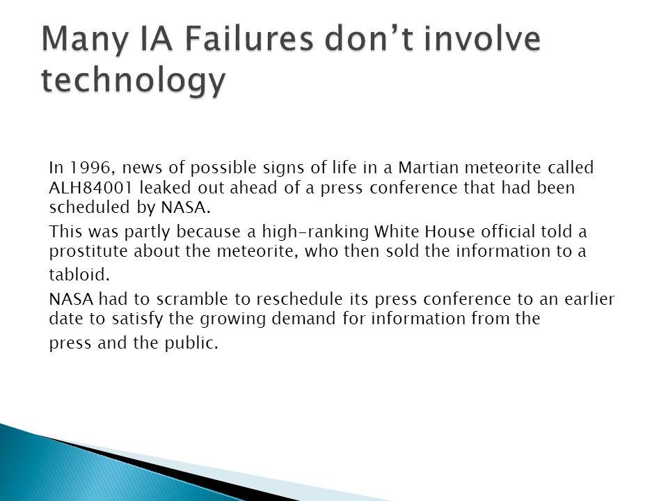 Many IA Failures don't involve technology